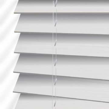 White Embossed Sunwood Faux Wood Venetian Blinds in True Fine Grain